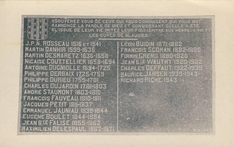 Liste des curés de Blaugies